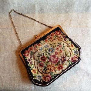 Vintage Hungarian Floral Petit Point Purse